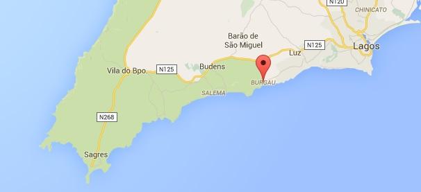 burgau kaart - vakantie algarve portugal