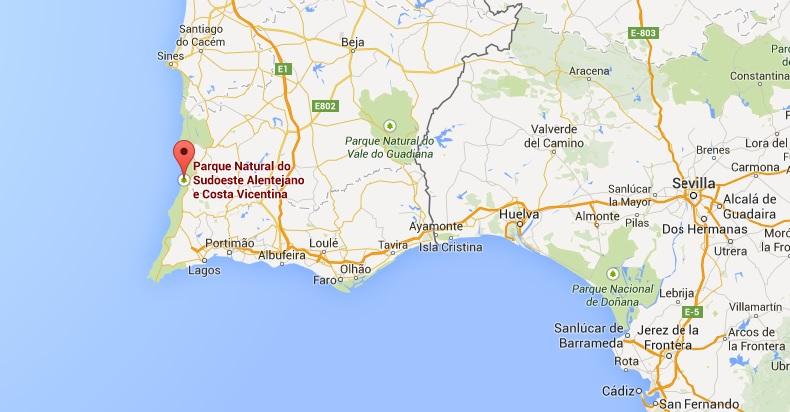 Kaart Costa Vicentina Portugal Algarve Vakantie