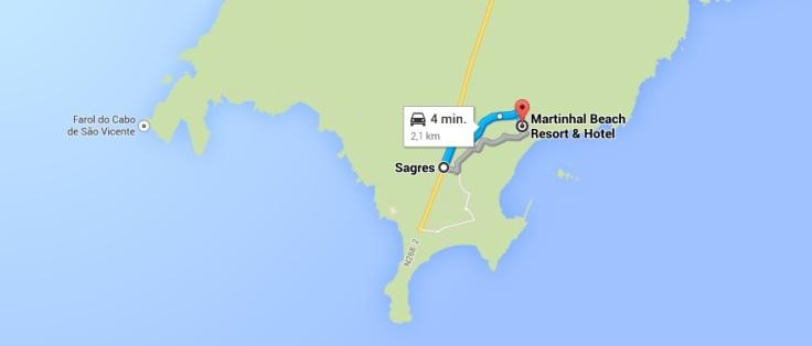 route kaart sagres martinhal strand beach