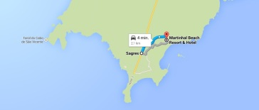 route kaart sgares martinhal strand beach