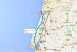 route lissabon Figueira da foz - vakantie Portugal