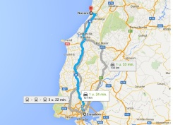 route lissabon Nazare vakantie portugal