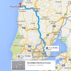 route Lissabon - Praia Azul vakantie portugal
