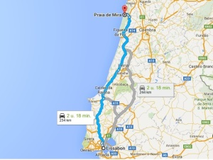 route lissabon praia da mira vakantie portugal