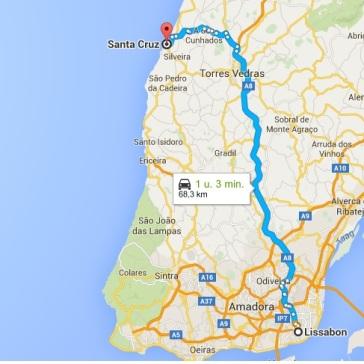 route lissabon santa cruz torres vedras