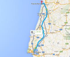 route praia da barra - lissabon