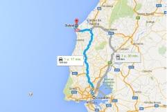 route Lissabon - Baleal
