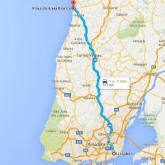 route lissabon Praia de Areia Branca