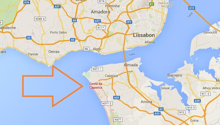 Costa de Caparica - KAART - maps - vakantie lissabon costa lisboa portugal